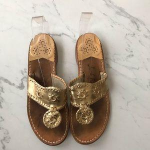 Jack Rogers Hamptons Palm Beach Thong Gold Sandals